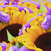 Mixed Autumn Flowers Poster