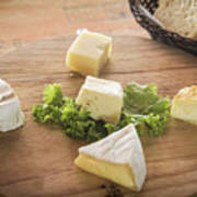 Mixed French Cheese Platter With Bread Poster