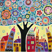 Mixed Media Collage Tree And Houses Poster
