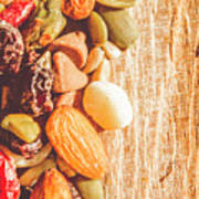 Mixed Nuts On Wooden Background Poster