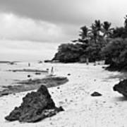 Moalboal Cebu White Sand Beach In Black And White Poster