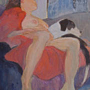 Model With Dog Poster by Don Perino