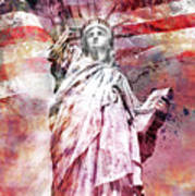 Modern-art Statue Of Liberty - Red Poster