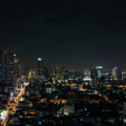 Modern Buildings In Silom Area Of Bangkok Thailand At Night Poster