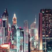 Modern City Architecture By Night. Dubai. Poster
