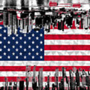 Modern City Scape American Flag Poster