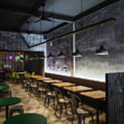 Modern Industrial Contemporary Interior Design Restaurant Poster