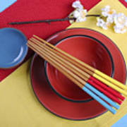 Modern Take On Traditional Japanese Oriental Place Setting Poster