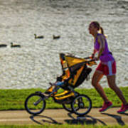 Moher And Child Jogging Poster