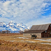 Molten Barn And Tetons 4 Poster