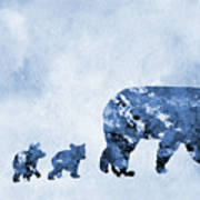 Mom And Baby Bears-blue Poster