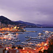 Monaco Harbor At Night Poster