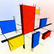 Mondrian 3d Poster