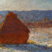 Monet Claude Haystack Snow Effect  Cat Poster