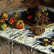 Monet Claude Still Life Apples And Grapes Poster