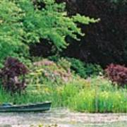 Monet's Garden Pond And Boat Poster