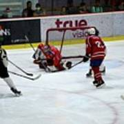 Mongolia Team Players Defend Goal Vs Malaysia In Ice Hockey Match In Rink Bangkok Thailand Poster