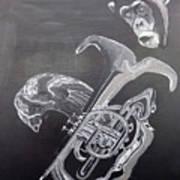 Monkey Playing Tuba Poster