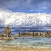 Mono Lake Tufas And Clouds Poster
