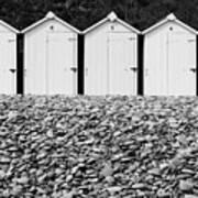 Monochrome Beach Huts Poster