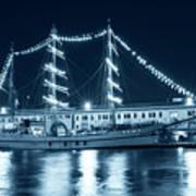 Monochrome Blue Boston Tall Ships At Night Boston Ma Poster