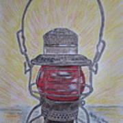 Monon Red Globe Railroad Lantern Poster