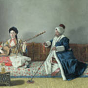 Monsieur Levett And Mademoiselle Helene Glavany In Turkish Costumes Poster by Jean Etienne Liotard