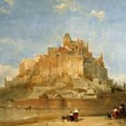 Mont St Michel From The Sands By David Roberts Poster