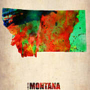 Montana Watercolor Map Poster