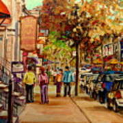 Montreal Downtown  Crescent Street Couples Walking Near Cafes And Rstaurants City Scenes Art    Poster