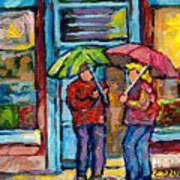 Montreal Rainy Day Paintings April Showers Umbrella Conversation At Wilensky's Deli C Spandau Quebec Poster