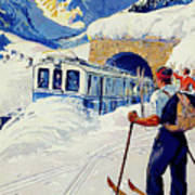 Montreux, Berner Oberland Railway, Switzerland, Winter, Ski, Sport Poster