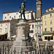 Monument And Statue Of Giuseppe Tartini At Tartini Square Piran  Poster