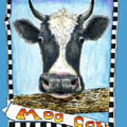 Moo Cow In Blue Poster