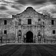 Moody Morning At The Alamo Bw Poster
