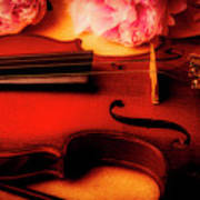 Moody Violin With Peonies Poster
