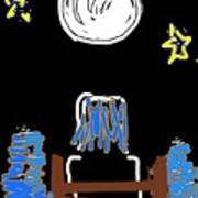 Moon And Beach Watcher On Martha's Vineyard Poster