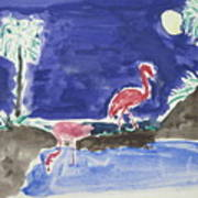 Moon Evening.flamingo. Water Color 1995 Poster