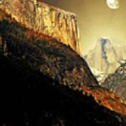 Moon Over Half Dome . Portrait Cut Poster