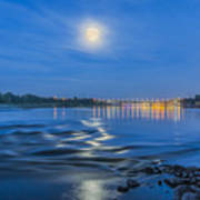 Moon Over Vistula River In Warsaw Poster