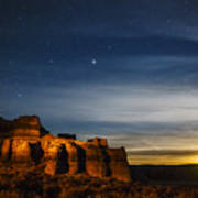 Moon Rise At Pillars Of Rome, Oregon, Usa Poster