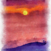 Moon Rise In Aquarelle Poster