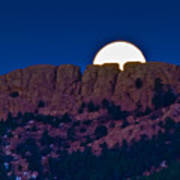 Moon Setting Behind Horsetooth Rock Poster by Harry Strharsky