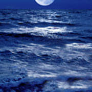 Moonlight Over The Ocean Poster by Christian Lagereek