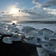 Moonlit Ice Beach Poster