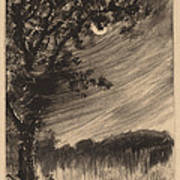 Moonlit Landscape With Tree At The Left Poster