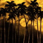 Moonlit Palm Trees In Yellow Poster
