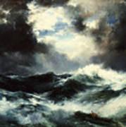 Moonlit Shipwreck At Sea Poster