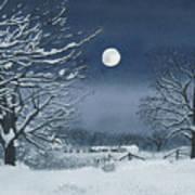 Moonlit Snowy Scene On The Farm Poster