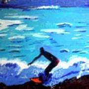 Moonlit Surf Poster